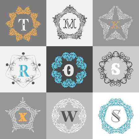 s and m: Monogram template with calligraphic elegant ornament. Identity design with M,O,R,S,X,W letter for shop, store or restaurant, heraldic, barbershop