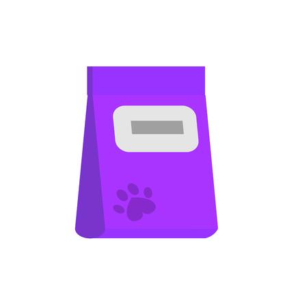 petshop: bag of food for pets icon. Flat style vector illustration Illustration