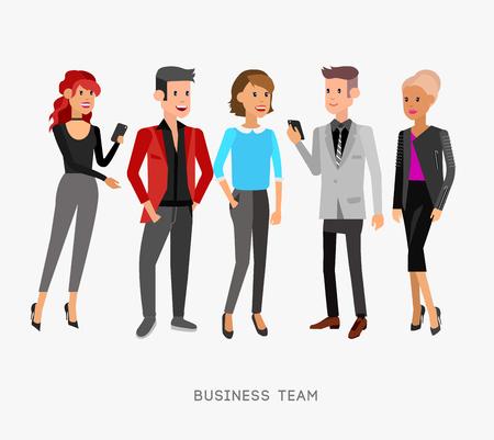 Vector gedetailleerde karakters, de mensen, het bedrijfsleven team mannen en vrouwen, secretaris, startup man en collega's