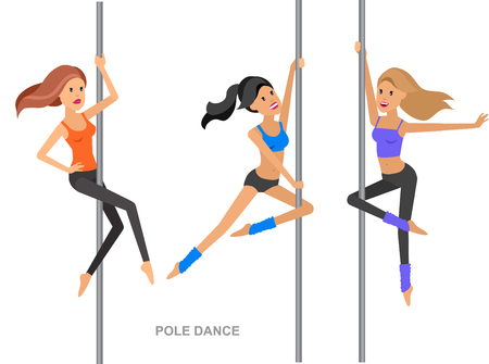flexible sexy: Vector detailed character Fit girl dancing around the pole, training for sexy woman