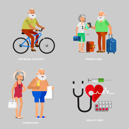 Character travelers. Old age retired tourists. Elderly couple senior having summer vacation with map and gadget, senior in swimsuits go on beach, riding on a bicycle. Healt icons Illustration