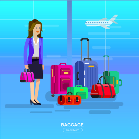Vector detailed character in airport lounge. Woman with baggage, flat illustration