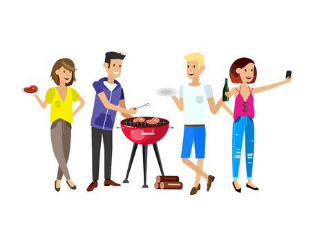 Personas de carácter vectorial de picnic o una fiesta de barbacoa. hombres cocinero que cocina los filetes en la parrilla. Vectores