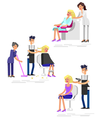 hair saloon: Detailed character Barber makes a hair washing, cut and styling for glamorous girl, beautiful smiling blond woman. Web banner template  for beauty saloon isolated on white background. Illustration