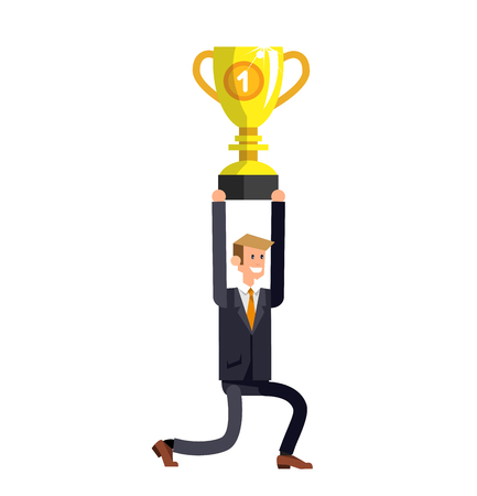 Vector detailed character businessman. Business concept, man moves to success. Leader wins a golden cup, happy winning celebration