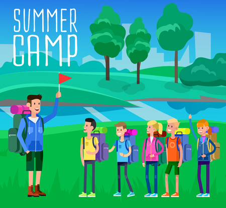 vector illustration of summer camp on beautiful landscape . Vector characters counselor and children. Camping banner and icon Vectores