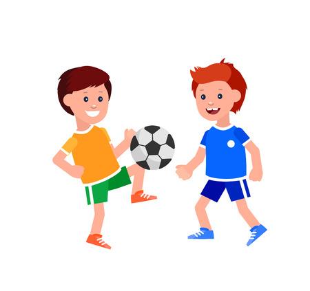 futbol infantil: vector del car�cter de juego de f�tbol Ni�o lindo. ilustraci�n juego alegre