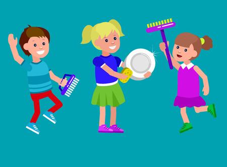 escuela infantil: niño ayude carácter vectorial linda con la limpieza