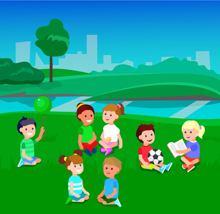 lesson: Cute vector character child. Vector for Education and kid development. Banner for the kindergarten or children club