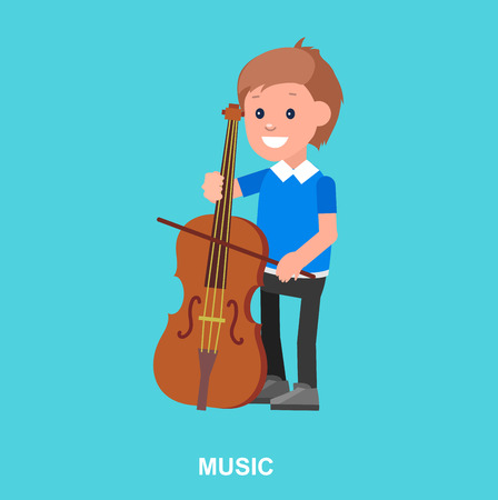 contrabass: Cute vector character. Happy boy kid playing on contrabass. Education and child development. Banner for kindergarten, children club or school of Arts, music school