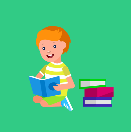 Cute vector character boy. Happy kid illustration reading book. Education and child development. Banner for the kindergarten or children club Vectores