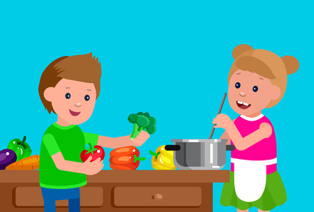 small children: Cute vector character child and healthy food, girl and boy with vegetables, cooking