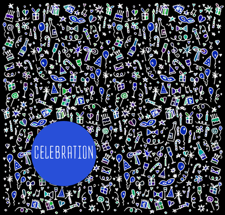 autocuidado: Celebraci�n, feliz cumplea�os doodles elementos. cosm�ticos del doodle, spa, y los iconos de autocuidado. Logo mano dibujada Vectores