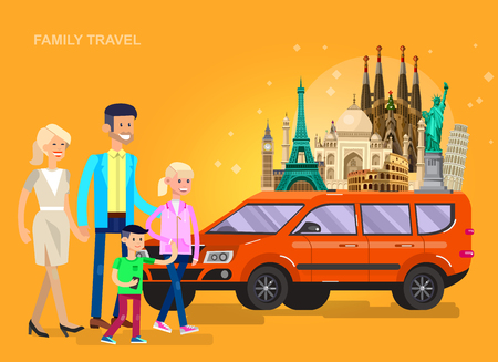 High quality, detailed most famous World landmarks on car. Characters family travel