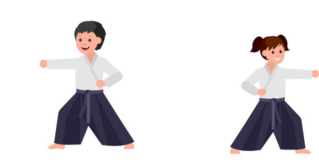Cute vector character child. Illustration for martial art. Kid wearing kimono and training aikido Illustration