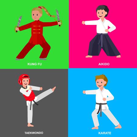 kung fu: Cute vector character child. Illustration for martial art taekwondo, karate, aikido, kung fu. Kid wearing kimono and training Illustration