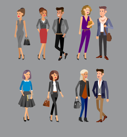 Vector detailed characters people, business people men and women in action, shake hands, with a briefcase, secretary, big boss, startup man, colleagues, business lifestyle
