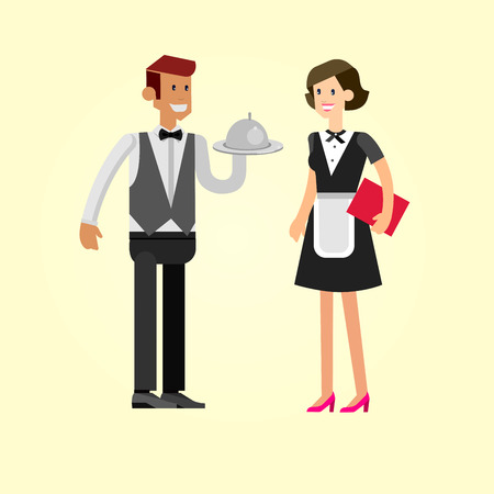 socialize: Vector detailed character people in the restaurant, waiter