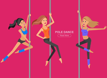 striptease women: Vector detailed character Fit girl dancing around the pole, training for sexy woman