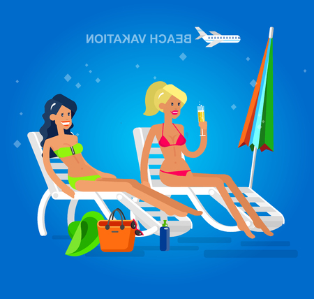 Vector detailed character Hot beautiful girl in bikini lying on a sun lounger and sunbathe on a summer beach, girlfriends go on summer vacation