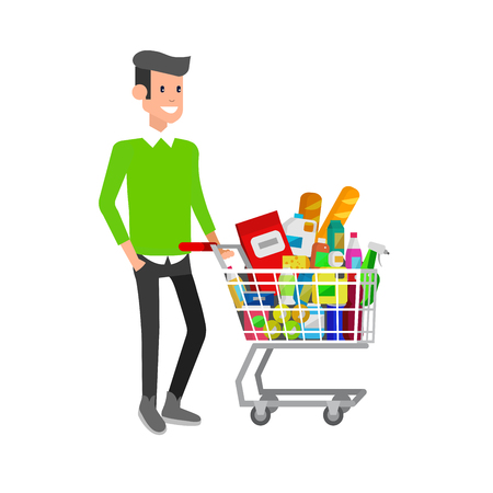 supermarket cart: Concept illustration for Shop. Vector character man with supermarket cart. Healthy eating and eco food