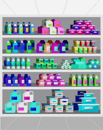 chrome cart: Concept illustration for Shop. Vector supermarket shelves. Healthy eating and eco food
