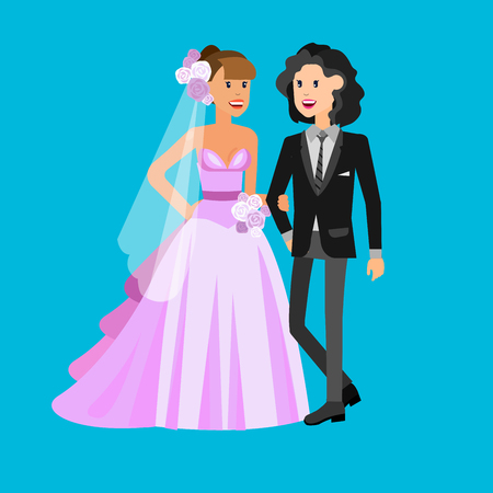 Nontraditional family. Happy cute wedding gay lesbian homosexual couple. Cool gay character