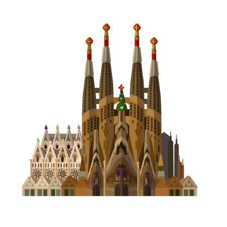 barcelona: High quality, detailed most famous World landmark. Vector illustration of La Sagrada Familia - the impressive cathedral designed by Gaudi. Travel vector