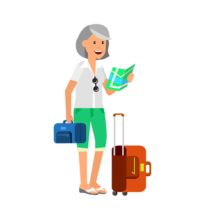retired: vector detailed character age traveler. Old women retired tourist summer vacation. Active senior