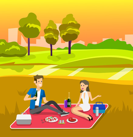 family picnic: Vector character people on Family picnic or Bbq party Illustration