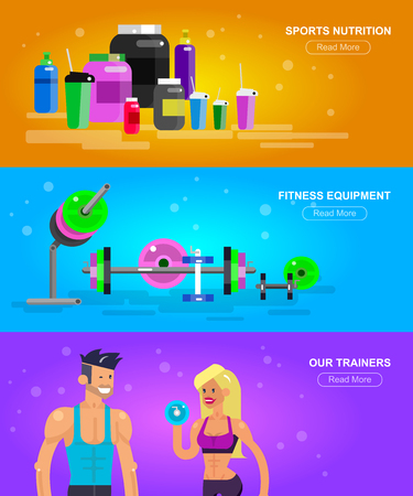 fitness equipment: Gym design concept with Vector detailed character men and women bodybuilder. Workout with fitness equipment and sports nutrition Illustration