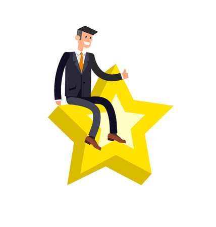 moves: Vector detailed character businessman. Business concept, man moves to success. Leader with golden star, happy winning celebration Illustration