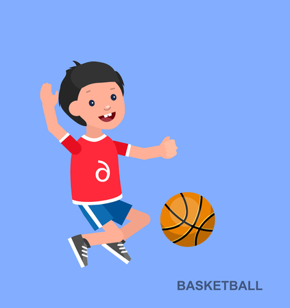 futbol infantil: Cute vector character child playing basketball. Happy boy kid illustration Vectores