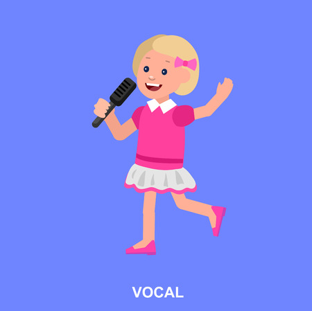 sings: Cute vector character girl. Happy kid girl sings. Education and child development. Banner for kindergarten, children club or school of Arts, music school Illustration