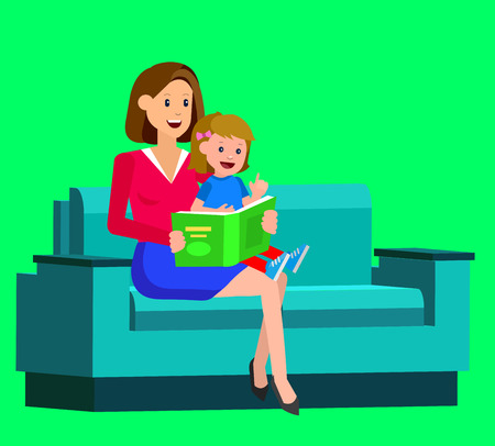 adolescent: Cute vector character child with mother reading book. Education and child development. Banner for the kindergarten or children club