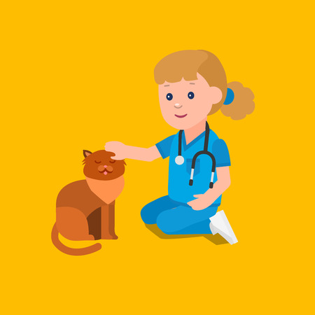 kid doctor: Cute vector character girl. Kid playing to be a doctor or nurse with animal