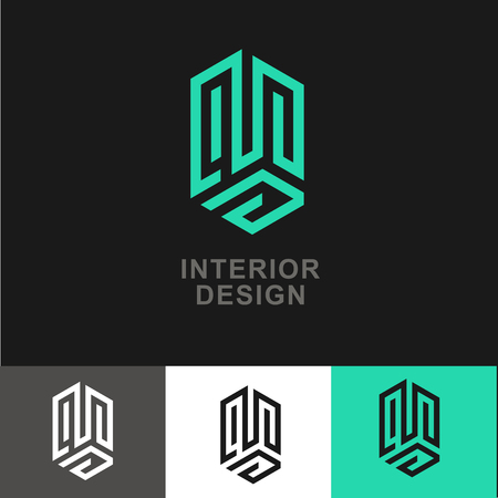 dwelling: Business Icon - Vector  design template. Abstract emblem for interior design, real estate interior improve, apartment dwelling