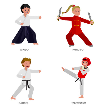 Cute vector character child. Illustration for martial art taekwondo, karate, aikido, kung fu. Kid wearing kimono and training Illustration