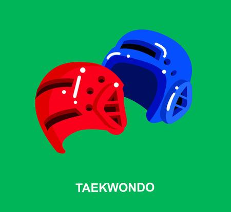 martial art: Illustration for martial art poster. Vector equipment for Taekwondo, helmet