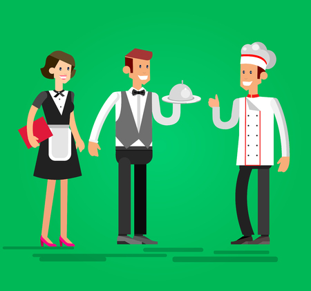 socialize: Vector detailed character people in the restaurant, waiter and Chef