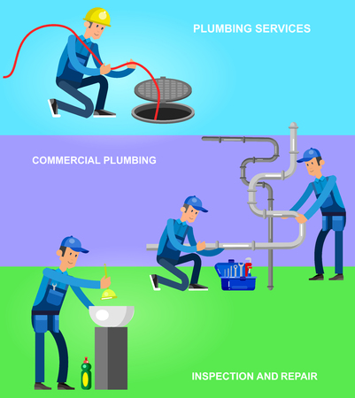 Detailed character proffesional plumber repair, fixing water pipes. Vector set Illustration Illustration
