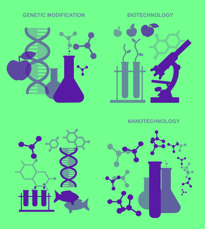 nanotechnology: Concept for Biotechnology, genetic engineering and nanotechnology. Vector illustration Illustration