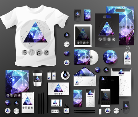 theorem: Abstract business set in cosmic polygonal style. Corporate identity templates, notebook, card, flag, T-shirt, disk, package, label, envelope, pen, Tablet PC, Mobile Phone, matches, ink, pencil