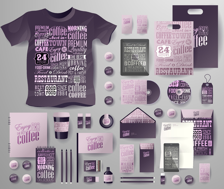 pen tablet: Abstract business set for coffee shop, cafe . Corporate identity templates in typographic style, notebook, card, flag, T-shirt, disk, package, label, envelope, pen, Tablet PC, Mobile Phone, matches, ink, pencil