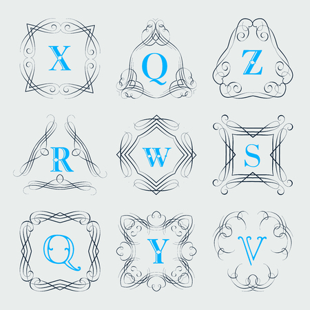 y ornament: Monogram  template with calligraphic elegant ornament. Identity design with letter Z,Q,R,W,S,Y,V for shop, store or restaurant, heraldic, barbershop Illustration