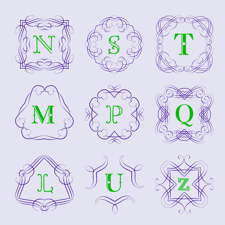 s and m: Monogram  template with calligraphic elegant ornament. Identity design with letter S,T,M,P,Q,L,U,Z for shop, store or restaurant, heraldic, barbershop