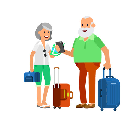 Character travelers. Old age retired tourists. Elderly couple senior having summer vacation with map and gadget