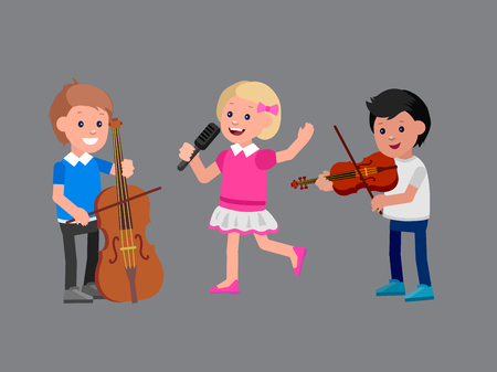 Cute vector character. Happy kid team playing on contrabass, singing, playing on violin. Education and child development. Banner for kindergarten, children club or school of Arts, music school