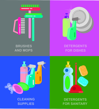 fittings: Flat design for cleaning service and supplies. Vector detailed Cleaning kit icons. Illustration detergent for dishes, for sanitary fittings