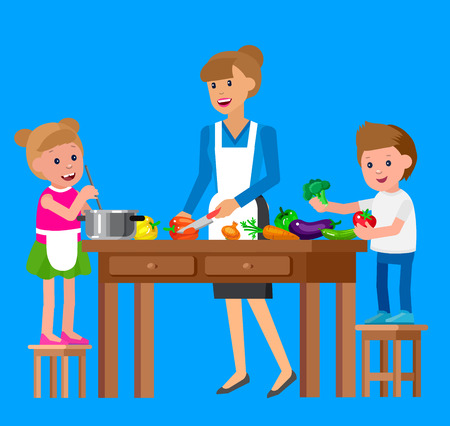 prepare: Cute vector character child and healthy food, cook with mother. Happy kid helping mum prepare food